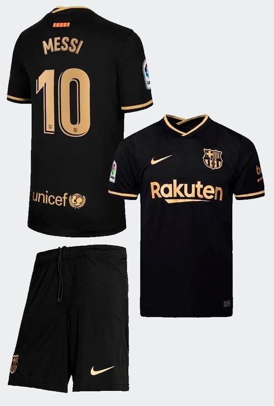 Барселона (Barcelona) детская гостевая форма сезон 2020-2021 Месси 10