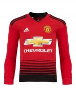 Детская футболка Манчестер Юнайтед домашняя сезон 2018/19 с длинным рукавом