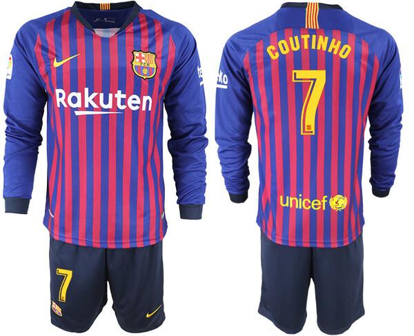 Барселона Домашняя футболка с длинным рукавом игрок Коутиньо сезона 2018-2019