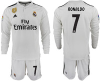 Футболка Реал Мадрида для домашних игр 2018/19 с длинным рукавом номер 7 Роналдо