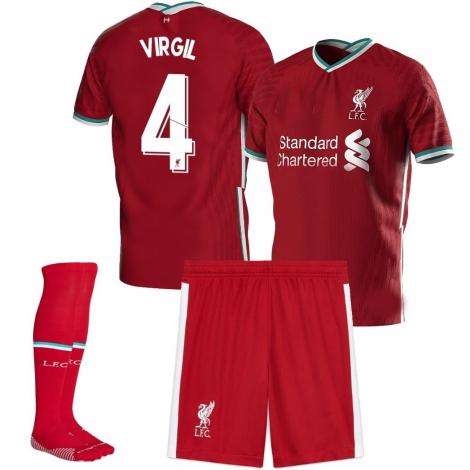 Детская домашняя форма Ливерпуль 2020-2021 Ван Дейк 4 (футболка + шорты + гетры)